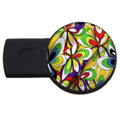 Colorful Textile Background USB Flash Drive Round (1 GB)