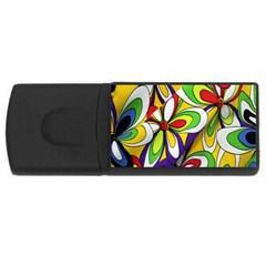 Colorful Textile Background USB Flash Drive Rectangular (2 GB)