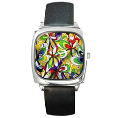 Colorful Textile Background Square Metal Watch