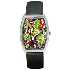 Colorful Textile Background Barrel Style Metal Watch