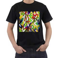 Colorful Textile Background Men s T Shirt (black) (two Sided)