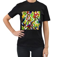 Colorful Textile Background Women s T-Shirt (Black) (Two Sided)