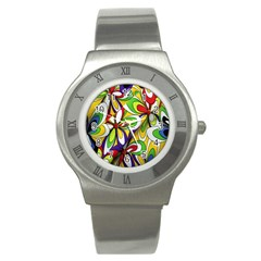 Colorful Textile Background Stainless Steel Watch
