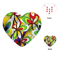 Colorful Textile Background Playing Cards (heart)