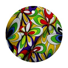 Colorful Textile Background Round Ornament (two Sides)