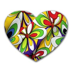 Colorful Textile Background Heart Mousepads
