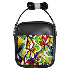 Colorful Textile Background Girls Sling Bags