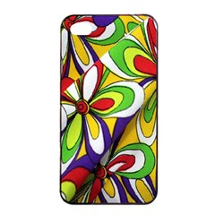 Colorful Textile Background Apple iPhone 4/4s Seamless Case (Black)