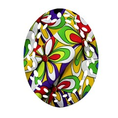 Colorful Textile Background Oval Filigree Ornament (Two Sides)