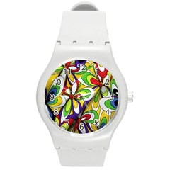 Colorful Textile Background Round Plastic Sport Watch (M)