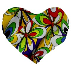 Colorful Textile Background Large 19  Premium Heart Shape Cushions