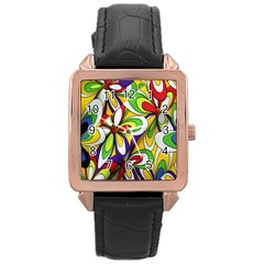 Colorful Textile Background Rose Gold Leather Watch