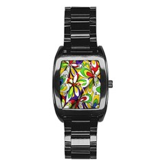 Colorful Textile Background Stainless Steel Barrel Watch