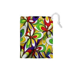Colorful Textile Background Drawstring Pouches (small)