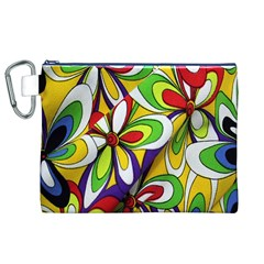 Colorful Textile Background Canvas Cosmetic Bag (XL)