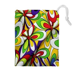 Colorful Textile Background Drawstring Pouches (extra Large)
