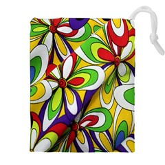 Colorful Textile Background Drawstring Pouches (xxl)