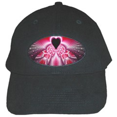 Illuminated Red Hear Red Heart Background With Light Effects Black Cap
