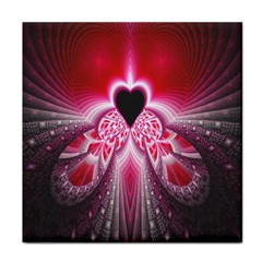 Illuminated Red Hear Red Heart Background With Light Effects Tile Coasters