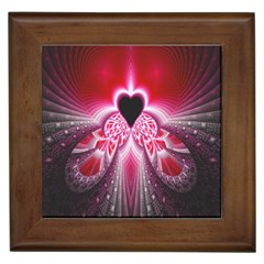 Illuminated Red Hear Red Heart Background With Light Effects Framed Tiles