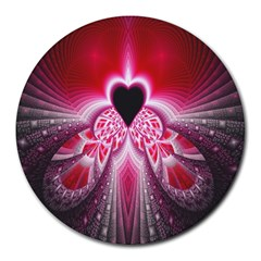 Illuminated Red Hear Red Heart Background With Light Effects Round Mousepads