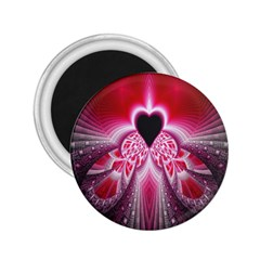 Illuminated Red Hear Red Heart Background With Light Effects 2 25  Magnets