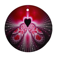 Illuminated Red Hear Red Heart Background With Light Effects Ornament (Round)