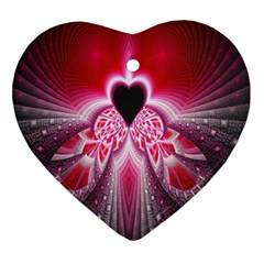 Illuminated Red Hear Red Heart Background With Light Effects Ornament (Heart)