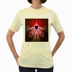 Illuminated Red Hear Red Heart Background With Light Effects Women s Yellow T-Shirt