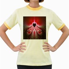 Illuminated Red Hear Red Heart Background With Light Effects Women s Fitted Ringer T Shirts