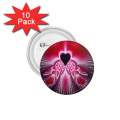 Illuminated Red Hear Red Heart Background With Light Effects 1.75  Buttons (10 pack)