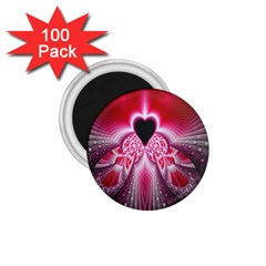 Illuminated Red Hear Red Heart Background With Light Effects 1 75  Magnets (100 Pack)