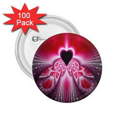 Illuminated Red Hear Red Heart Background With Light Effects 2 25  Buttons (100 Pack)