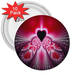 Illuminated Red Hear Red Heart Background With Light Effects 3  Buttons (10 Pack)