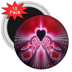 Illuminated Red Hear Red Heart Background With Light Effects 3  Magnets (10 pack)