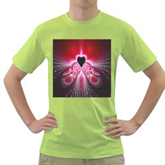 Illuminated Red Hear Red Heart Background With Light Effects Green T Shirt