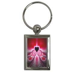Illuminated Red Hear Red Heart Background With Light Effects Key Chains (rectangle)