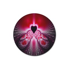 Illuminated Red Hear Red Heart Background With Light Effects Rubber Coaster (Round)