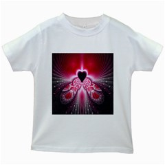 Illuminated Red Hear Red Heart Background With Light Effects Kids White T Shirts
