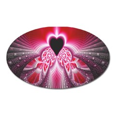 Illuminated Red Hear Red Heart Background With Light Effects Oval Magnet