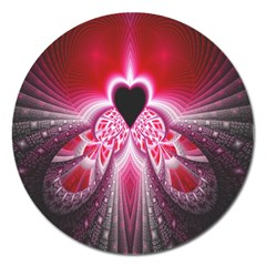 Illuminated Red Hear Red Heart Background With Light Effects Magnet 5  (round)