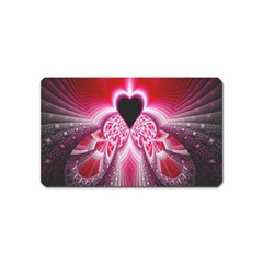 Illuminated Red Hear Red Heart Background With Light Effects Magnet (name Card)