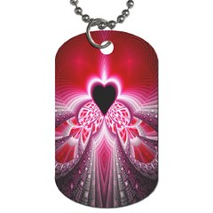 Illuminated Red Hear Red Heart Background With Light Effects Dog Tag (one Side)