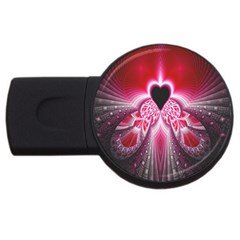 Illuminated Red Hear Red Heart Background With Light Effects Usb Flash Drive Round (2 Gb)