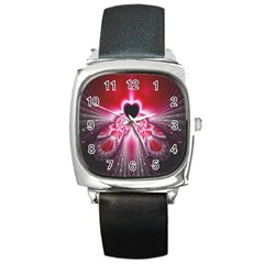 Illuminated Red Hear Red Heart Background With Light Effects Square Metal Watch