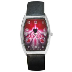 Illuminated Red Hear Red Heart Background With Light Effects Barrel Style Metal Watch