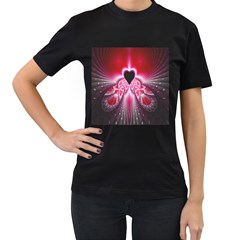 Illuminated Red Hear Red Heart Background With Light Effects Women s T-Shirt (Black) (Two Sided)