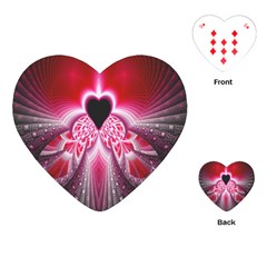 Illuminated Red Hear Red Heart Background With Light Effects Playing Cards (heart)