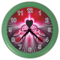 Illuminated Red Hear Red Heart Background With Light Effects Color Wall Clocks