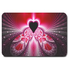 Illuminated Red Hear Red Heart Background With Light Effects Large Doormat